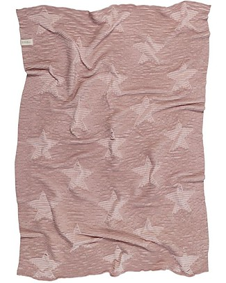 Lorena Canals Knitted Baby Blanket Hippy Stars, Vintage Nude - 100% Cotton (90 x 120 cm) Blankets