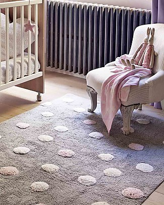 Lorena Canals Machine Washable 3 Colours Polka Dots Rug, Grey/Pink, 100% Cotton (120cm x 160cm)  Carpets