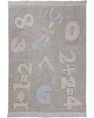 Lorena Canals Machine Washable Baby Numbers, Back to School - 100% Cotton (120 cm x 160 cm) Carpets