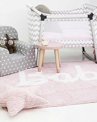 Lorena Canals Machine Washable Baby Rug, Pastel Pink 100% Cotton (120cm x 160cm)  Carpets