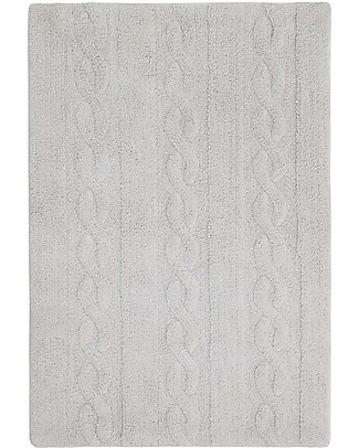 Lorena Canals Machine Washable Cabled Rug Pearl Grey 100% Cotton (120cm x 160cm)  Carpets
