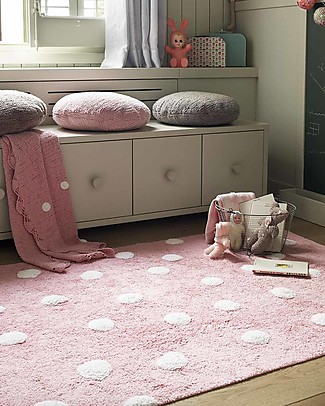 Lorena Canals Machine Washable Polka Dots Rug, Pink - 100% Cotton (120cm x 160cm) Carpets