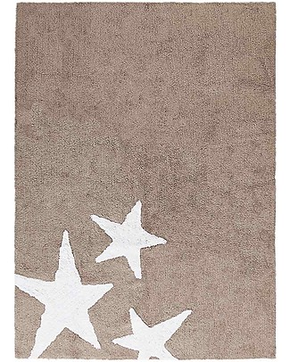 Lorena Canals Machine Washable Rug 3 Stars, Taupe - 100% Cotton (120cm x 160cm) Carpets