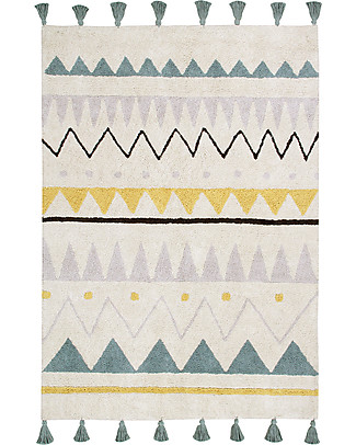 Lorena Canals Machine Washable Rug Azteca, Natural/Vintage Blue - 100% Cotton (120x160 cm) Carpets