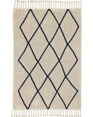 Lorena Canals Machine Washable Rug Black and White - Bereber Beige - 100% Cotton (140cm x 200cm)  Carpets