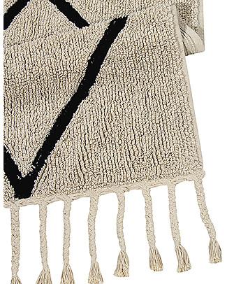 Lorena Canals Machine Washable Rug Black and White - Bereber Beige - 100% Cotton (140cm x 200cm)  Carpets