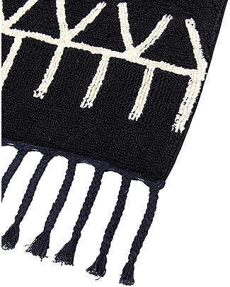 Lorena Canals Machine Washable Rug Black and White - Bereber Black - 100% Cotton (140cm x 200cm)  Carpets