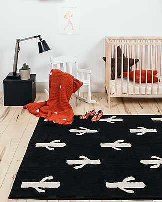Lorena Canals Machine Washable Rug Black and White - Cactus - 100% Cotton (140cm x 200cm)  Carpets