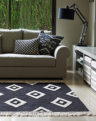 Lorena Canals Machine Washable Rug Black and White - Diamonds - 100% Cotton (140cm x 200cm) Carpets