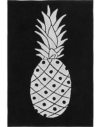 Lorena Canals Machine Washable Rug Black and White - Pineapple - 100% Cotton (140cm x 200cm)  Carpets