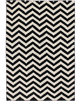 Lorena Canals Machine Washable Rug Black and White - Zig-Zag - 100% Cotton (140cm x 200cm)  Carpets