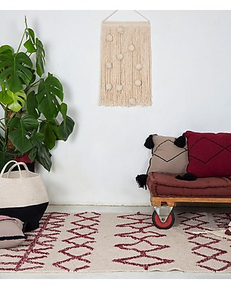 Lorena Canals Machine Washable Rug Burgundy - Bereber Classic - 100% Cotton (120 x 160cm)  Carpets
