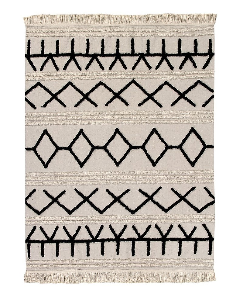 200x140 cm Black Beige Lorena Canals Washable Rug Bereber Canvas 100/% cotton