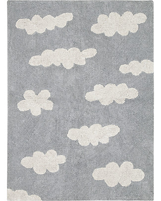 Lorena Canals Machine Washable Rug Clouds, Grey - 100% Cotton (120x160 cm) Carpets