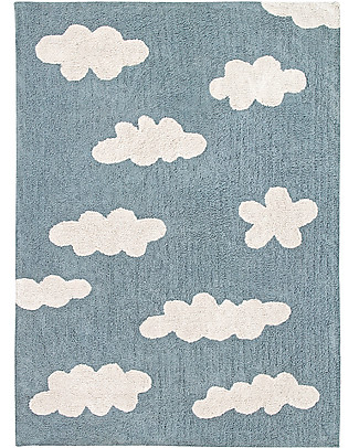 Lorena Canals Machine Washable Rug Clouds, Vintage Blue - 100% Cotton (120x160 cm) Carpets