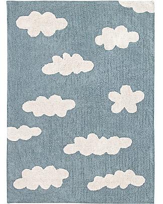 Lorena Canals Machine Washable Rug Clouds, Vintage Blue - 100% Cotton (120x160 cm) Carpets