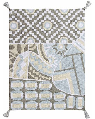 Lorena Canals Machine Washable Rug, Indian Bag, Grey/Blue - 100% Cotton (120x160 cm) Carpets