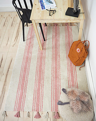 Lorena Canals Machine Washable Rug Stripes - Colar Pink - 100% Cotton (120cm x 160cm)  Carpets
