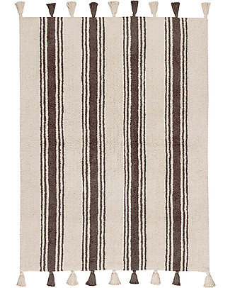 Lorena Canals Machine Washable Rug Stripes - Elephant Grey - 100% Cotton (120cm x 160cm)  Carpets