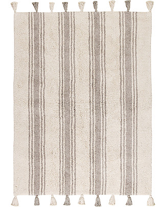 Lorena Canals Machine Washable Rug Stripes - Glacier Grey - 100% Cotton (120cm x 160cm)  Carpets
