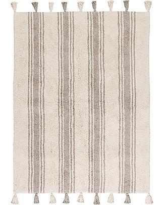 Lorena Canals Machine Washable Rug Stripes - Glacier Grey - 100% Cotton (120cm x 160cm)  Carpets