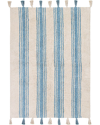 Lorena Canals Machine Washable Rug Stripes - Nile Blue - 100% Cotton (120cm x 160cm)  Carpets