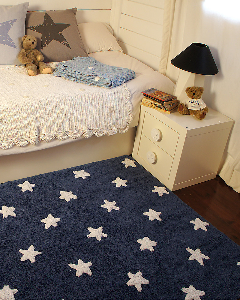 Lorena Cs Machine Washable Rug White Stars Dark Blue 100 Cotton 120cm