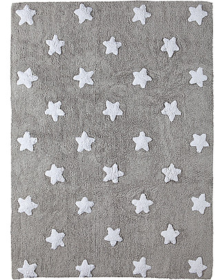 Lorena Canals Machine Washable Rug  White Stars, Grey - 100% Cotton (120cm x 160cm) Carpets