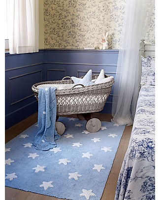 Lorena Canals Machine Washable Rug White Stars, Light Blue - 100% Cotton (120cm x 160cm) Carpets