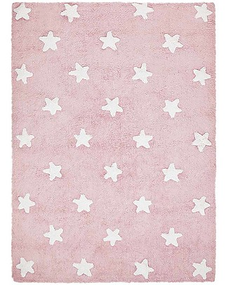 Lorena Canals Machine Washable Rug White Stars, Pink - 100% Cotton (120cm x 160cm) Carpets