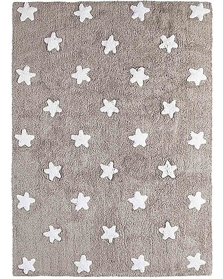 Lorena Canals Machine Washable Rug White Stars, Taupe - 100% Cotton (120cm x 160cm) Carpets