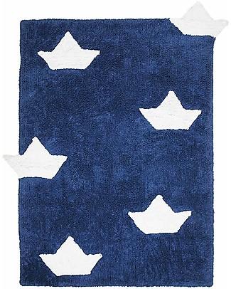 Lorena Canals Machine Washable Rug with Boats, Blue - 100% Cotton (120cm x 160cm)  Carpets