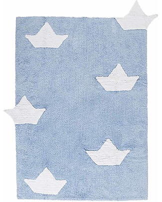 Lorena Canals Machine Washable Rug with Boats, Light Blue -  100% Cotton (120cm x 160cm)   Carpets