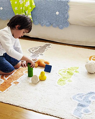 Lorena Canals Machine Washable Rug with Multicolour Cars, Vanilla -  100% Cotton (120cm x 160cm)   Carpets