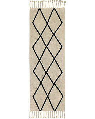 Lorena Canals Machine Washable Runner Rug Black and White - Bereber Beige - 100% Cotton (80cm x 230cm)  Carpets