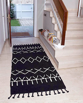 Lorena Canals Machine Washable Runner Rug Black and White - Bereber Black - 100% Cotton (80cm x 230cm)  Carpets