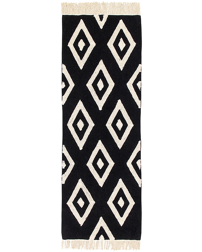 Lorena Cs Machine Washable Runner Rug Black And White Diamonds 100 Cotton