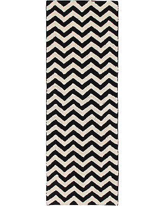 Lorena Canals Machine Washable Runner Rug Black and White - Zig-Zag - 100% Cotton (80cm x 230cm)  Carpets