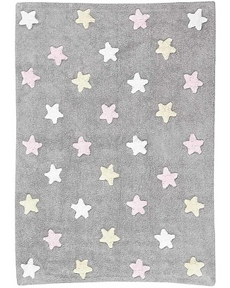 Lorena Canals Machine Washable Three Colour Star  Rug – Grey/Pink, 100% Cotton (120cm x 160cm)  Carpets