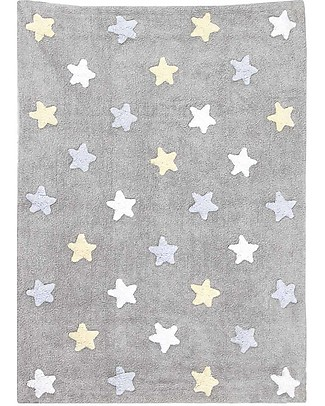 Lorena Canals Machine Washable Three Colour Star Rug (120cm x 160cm) – Grey/Blue, 100% Cotton  Carpets