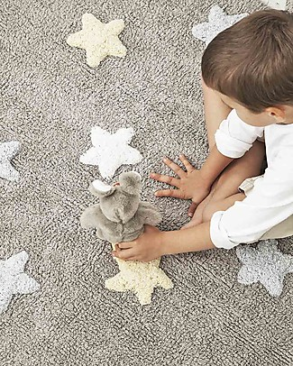 Lorena Canals Machine Washable Three Colour Star Rug (120cm x 160cm) - Grey/Blue, 100% Cotton  Carpets