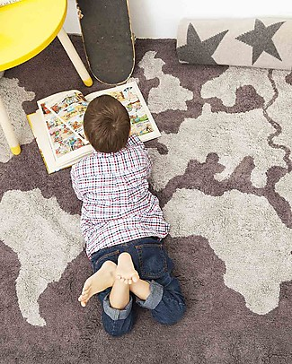 Lorena Canals Machine Washable World Map Rug, Grey - 100% Cotton (140cm x 200cm) Carpets