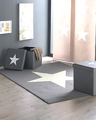 Lorena Canals OUTLET - Wool Rug Big Star, Light Grey - Base 100% cotton (140 x 200 cm) Carpets