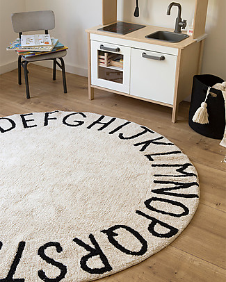 Lorena Canals Round Machine Washable ABC Rug, Natural-Black - 100% cotton (150 cm diameter) Carpets