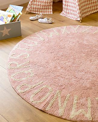 Lorena Canals Round Machine Washable ABC Rug, Nude-Natural - 100% cotton (150 cm diameter) Carpets