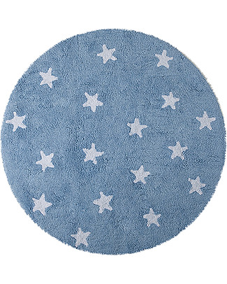 Lorena Canals Round Machine Washable Rug with Stars, Light Blue - 100% Cotton (140cm diameter) Carpets