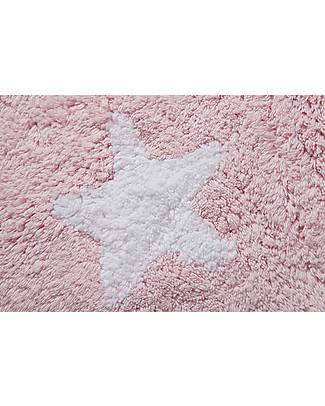 Lorena Canals Round Machine Washable Rug with Stars, Pink - 100% Cotton (140cm Diameter) Carpets