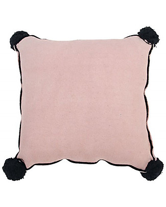 Lorena Canals Square Cushion with Black Border and Pompons, Vintage Nude  - 100% cotton (40X40 cm) Cushions
