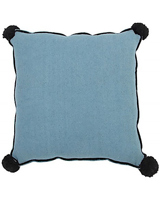 Lorena Canals Square Cushion with Black Border, Petroleum - 100% cotton (40x40 cm) Pillows