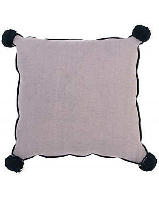 Lorena Canals Square Cushion with Black Border, Wood Rose - 100% cotton (40x40 cm) Pillows